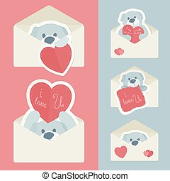 Vector vintage envelope with red and blue paper teddy bear...