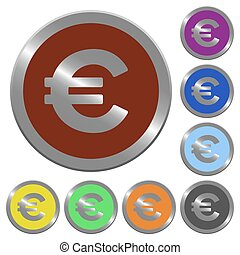 Color euro sign buttons - Set of glossy coin-like color euro...