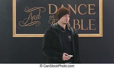 Man Dancing, Makes Selfi on Phone - Man dance in scene and...
