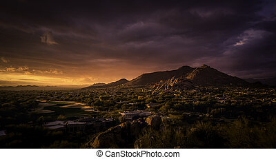 Golden sunset over North Scottsdale,Arizona