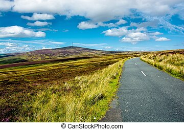 Road through Wicklow Mountains near Dublin in Ireland