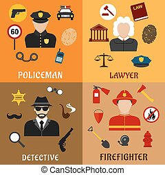 Policeman, firefighter, detective and lawyer icons -...