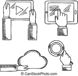 Hands icons with tablets, cloud and magnifying glass