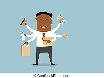 Happy multitasking man with shopping items