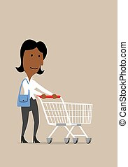 Happy businesswoman with shopping cart in store