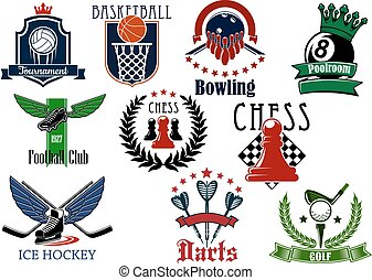 Sports game heraldic emblems with items - Sports game...