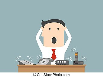 Busy businessman and ofice telephone calls - Cartoon...