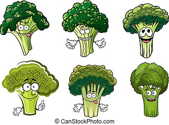 Green broccoli vegetables cartoon characters - Organic farm...