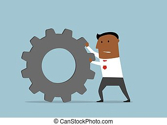 Unhappy businessman pushing a gear wheel - Cartoon confident...