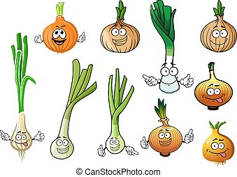 Green, leek and bulb onion vegetables - Cartoon green...