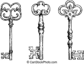 Isolated medieval victorian forged keys sketches - Isolated...