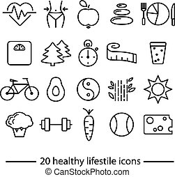 healthy lifestile icons - healthy lifestile line icons