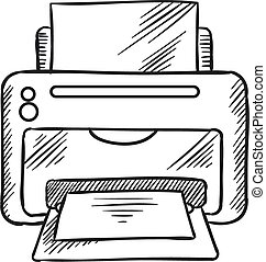 Sketch icon of office inkjet printer with paper - Desktop...