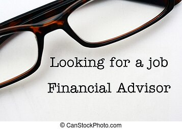 Looking for a job Financial Advisor