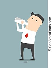 Businessman drinking milk from a bottle