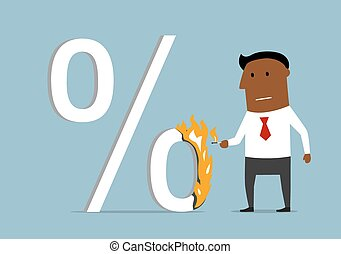 Businessman reducing the loan percent - Confident serious...