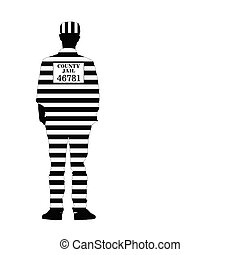 man in jail vector silhouette illustration