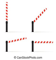 toll booth set vector on road in colorful