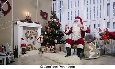 Santa Make Selfi His Phone, Room with Fireplace and Christmas Tree, Gifts.