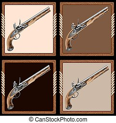 icon pirate pistol - icons old pirate flintlock pistol on a...