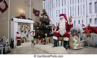 Santa Talking His Digital Tablet Swing Arm, Room with Fireplace and Christmas Tree, Gifts.