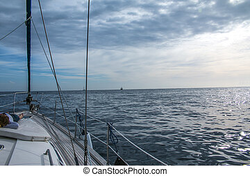 boat sailing sail blue ocean horizon