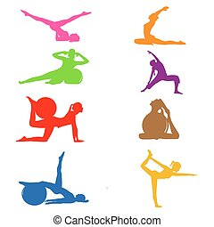 set of fitness Pilates icons, vector illustration