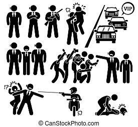Bodyguard Protecting VIP Boss - A set pictogram representing...