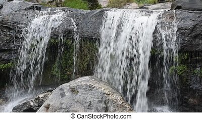 Mountain stream. - Beautiful waterfall, Mountain stream...