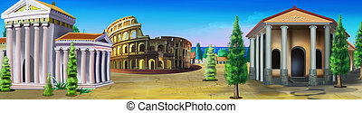 Ancient Rome. Panorama view - Digital painting of Ancient...