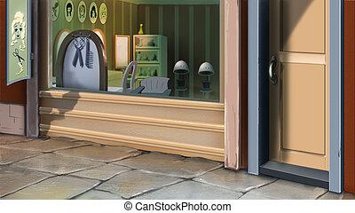 Barbershop - Digital painting of the barbershop. Outdoor...
