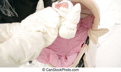Placed the Baby in the Pram - baby fell asleep and placed in...