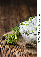 Fresh made Herb Curd close-up shot on vintage background