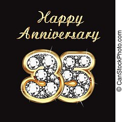 35 years anniversary birthday in gold and diamonds