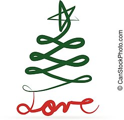 Christmas tree and love text