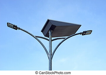LED light post with solar cell panel with beautiful sky...
