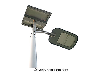 LED light post with solar cell panel isolated on white...