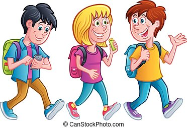 Kids Walking with Backpacks - Cartoon illustrations of three...