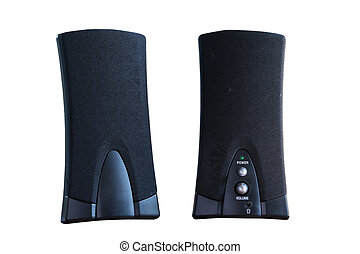 Black two speaker computer  isolated