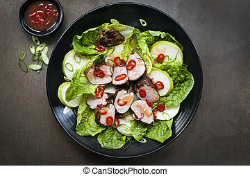 Pork Salad with Chili Pear and Cos Lettuce