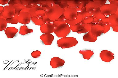 Red rose petals - Illustration of Red rose petals on a white...