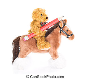 Teddy bear ride a horse and hold pencil on white background