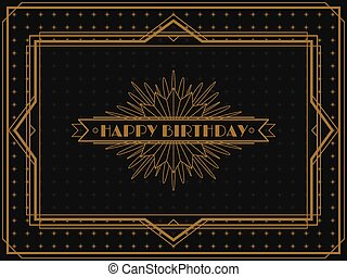 Vintage Art Deco Birthday card frame design - Vintage Art...