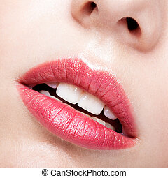 Closeup shot of female lips - Close up shot of red female...