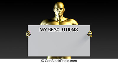 My Resolutions with a Man Holding Placard Poster Template