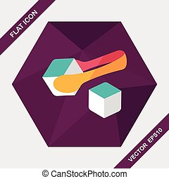 Sugar cubes flat icon with long shadow,eps10