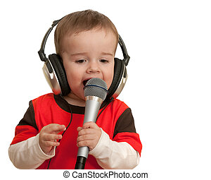 Singing toddler - An expressive toddler is singing; isolated...