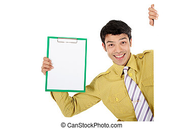 Asian businessman clipboard - handsome Asian Nepalese...
