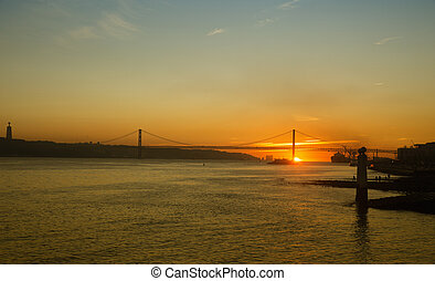 The 25 de Abril Bridge in Lisbon, Portugal