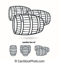 Wooden barrel. Design elements for labels